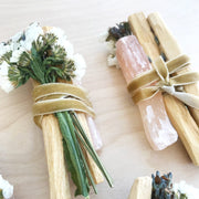 Ethically Sourced Ecuadorian Palo Santo and Peach Selenite Smudge Bundle by Black and Jane Shop Jupiter Goods