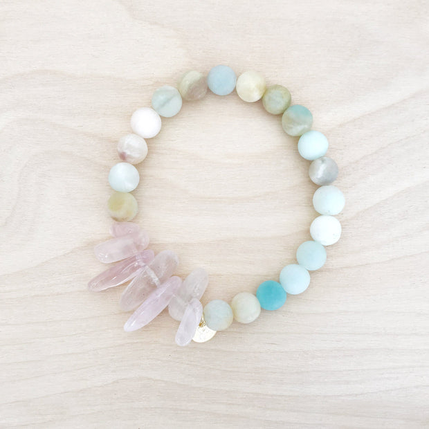 Peace and Love Stacking Crystal Bracelet Healing Amazonite Rose Quartz Crystals Harmony Love Sarah Belle Shop Jupiter Goods