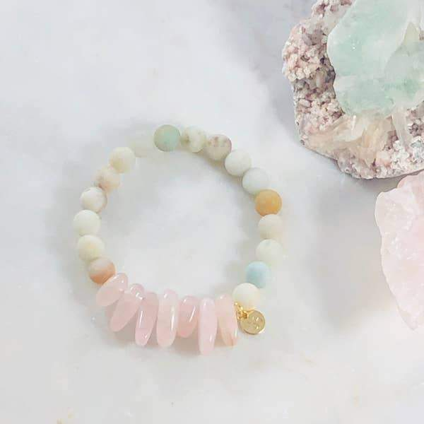 Peace and Love Stacking Crystal Bracelet Healing Amazonite Rose Quartz Crystals Sarah Belle Shop Jupiter Goods