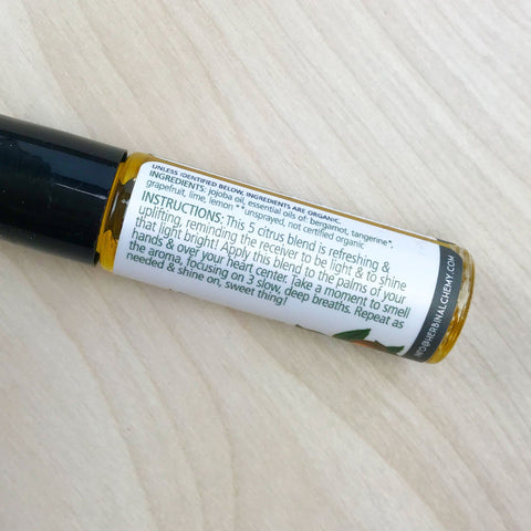 Shine Aromatherapy Roll On Scent Citrus Uplifting Refreshing Heart Centered by Herbin Alchemy Shop Jupiter Goods
