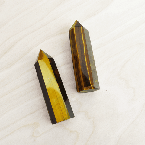 Tigers Eye Stone Pointed Wand Grounding and Protection Stone Shop Jupiter Goods