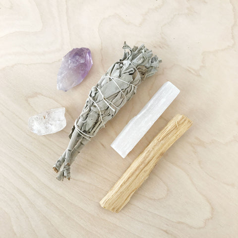 Wellness Ritual Kit Amethyst and Selenite Crystal White Sage Jax Kelly Shop Jupiter Goods