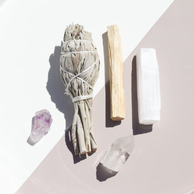 Wellness Ritual Kit Amethyst and Selenite Crystal White Sage Clear Quartz Self Love Jax Kelly Shop Jupiter Goods