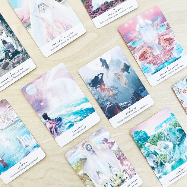 Work Your Light Oracle Card Deck 44 Pastel Cards and Guidebook Collage Art by Rebecca Campbell Shop Jupiter Goods