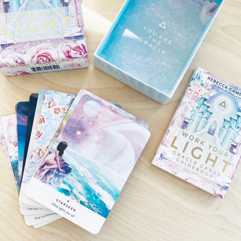 Work Your Light Oracle Card Deck 44 Pastel Cards and Guidebook Intuition by Rebecca Campbell Shop Jupiter Goods