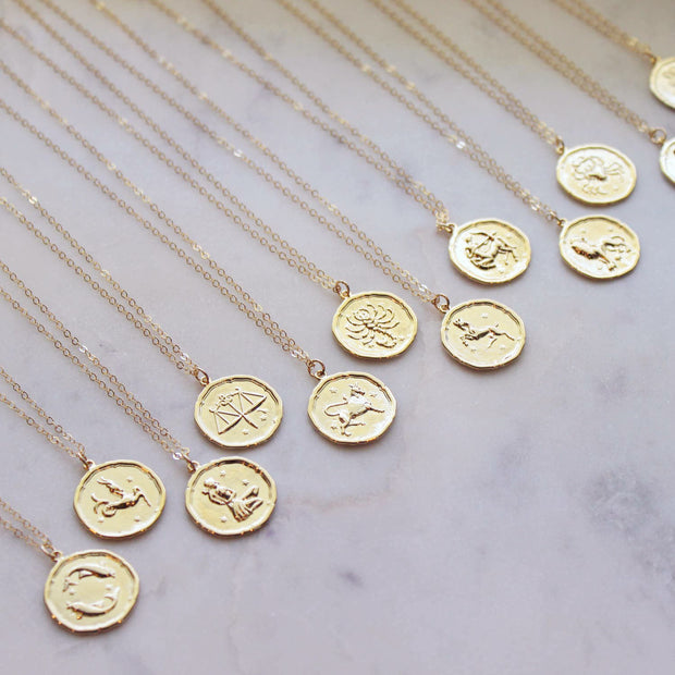 Gold Zodiac Necklace Coin Disk