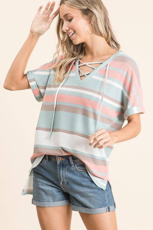 Mindy Multi Stripe Criss Cross Knit Top