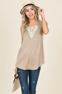 Crocheted Lace Detail Tank Top