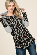 Grey and Wine Animal Print Top