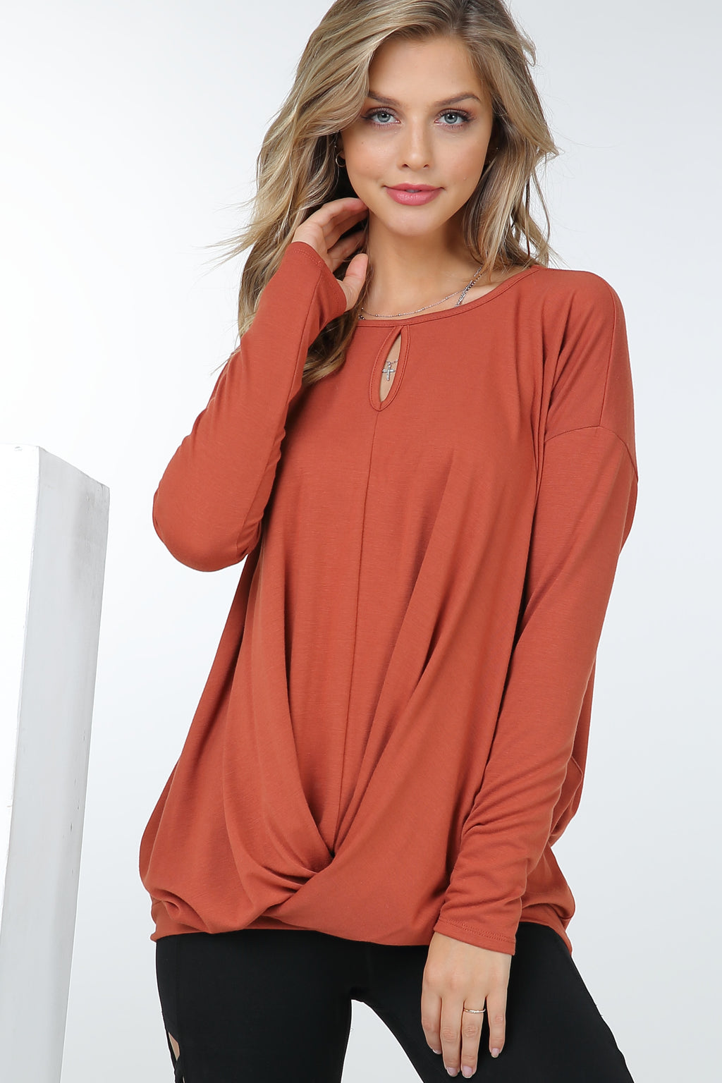 Long Sleeve Cross Body Tunic with Keyhole