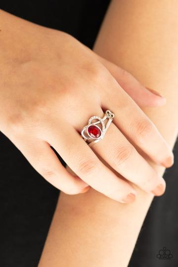 Paparazzi No HEART-Strings Attached - Red - Ring - Glitzygals5dollarbling Paparazzi Boutique