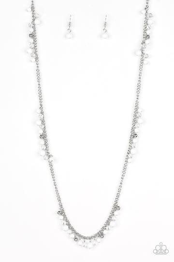 Paparazzi Miami Mojito - White Beads - Silver Chain Necklace and matching Earrings - Glitzygals5dollarbling Paparazzi Boutique
