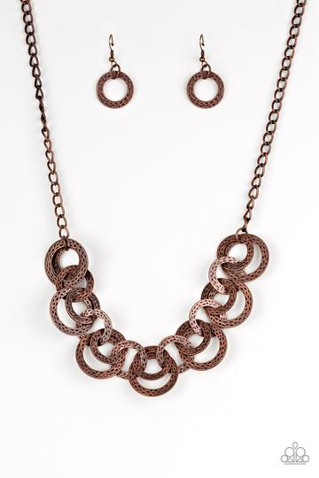 Paparazzi Treasure Tease - Copper - Antiqued Hammered Copper Discs - Necklace and matching Earrings