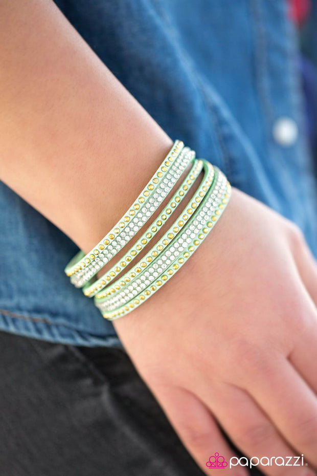 Stop, Drop, and Sparkle Green Urban Bracelet - Glitzygals5dollarbling Paparazzi Boutique