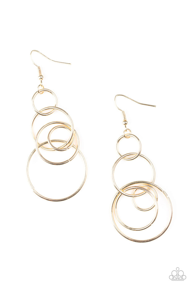 Paparazzi Chic Circles - Gold Earrings