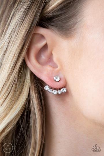 Paparazzi Jeweled Jubilee - White Rhinestones - Double Sided Post - Earrings