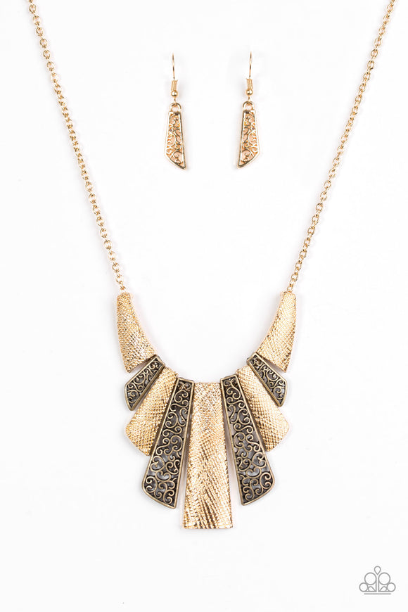 Paparazzi Cave Girl Grotto Gold Necklace