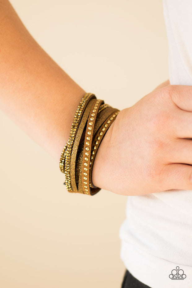 Paparazzi Once Upon A SHOWTIME Brass Urban Bracelet - Glitzygals5dollarbling Paparazzi Boutique