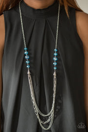 Paparazzi Turn It Up-Town Blue Long Necklace