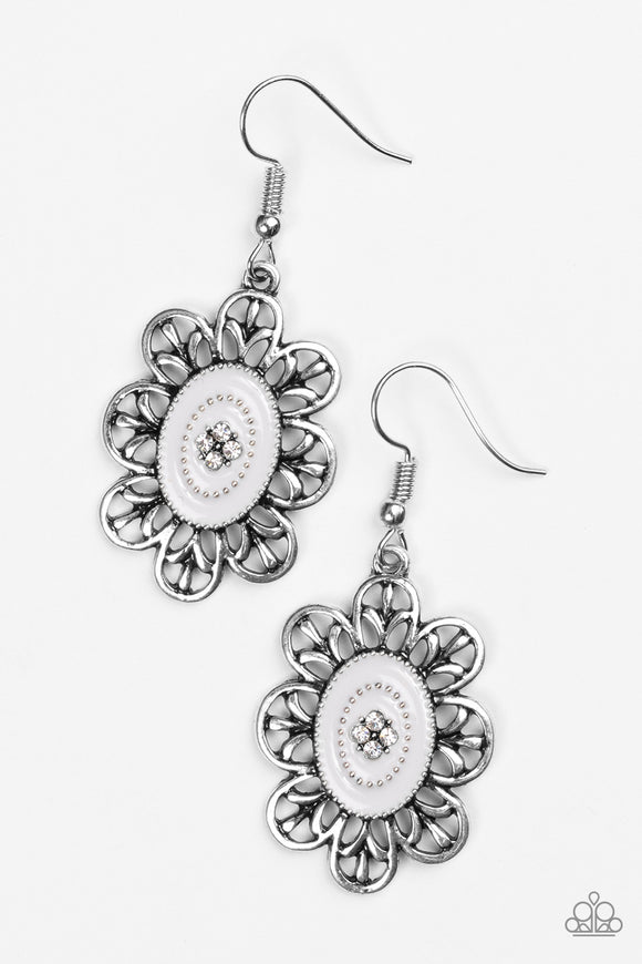 Paparazzi Posy Party Silver Earrings