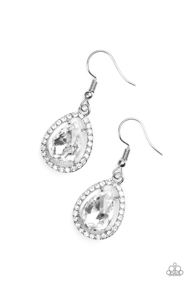 Paparazzi A One-Glam Show White Earring - Glitzygals5dollarbling Paparazzi Boutique
