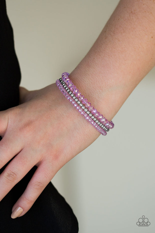 Luminous Luster Purple Infinity Bracelet - Glitzygals5dollarbling Paparazzi Boutique