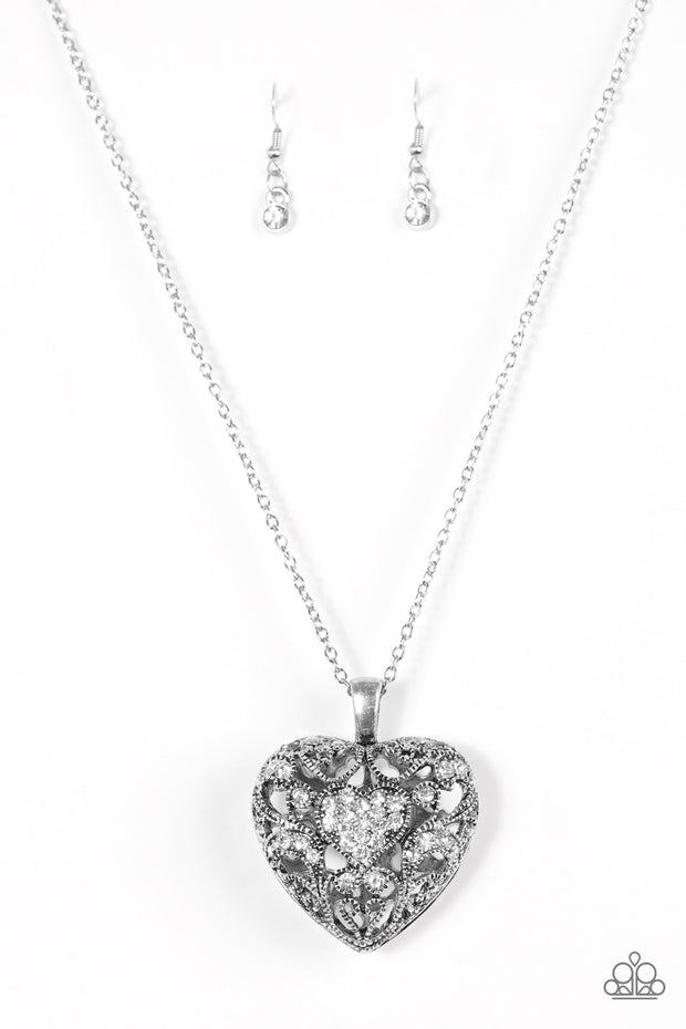 Paparazzi Heartless Heiress White Necklace - Glitzygals5dollarbling Paparazzi Boutique