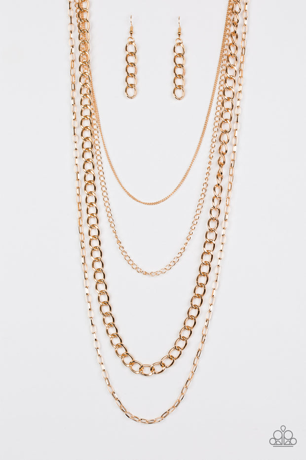 Paparazzi Metro Metal Gold Necklace - Glitzygals5dollarbling Paparazzi Boutique