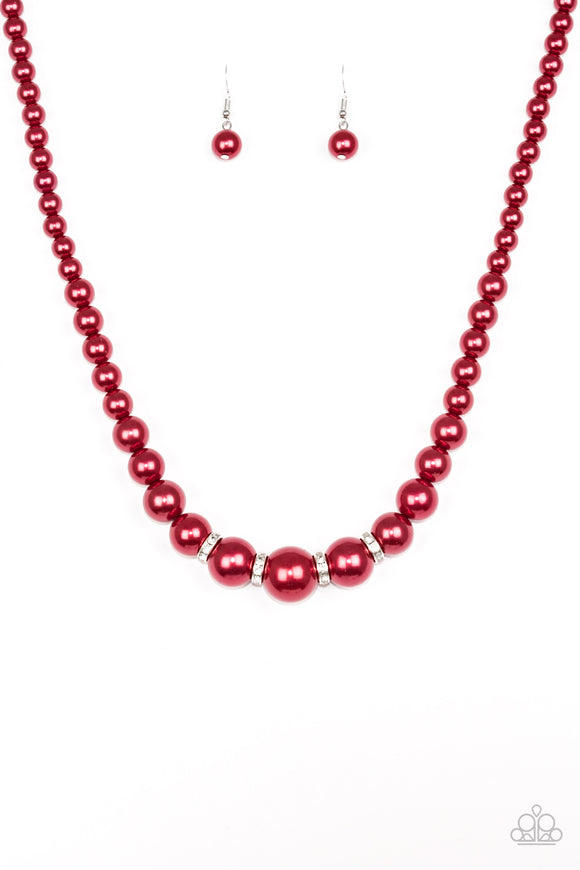 Paparazzi Party Pearls Red Necklace