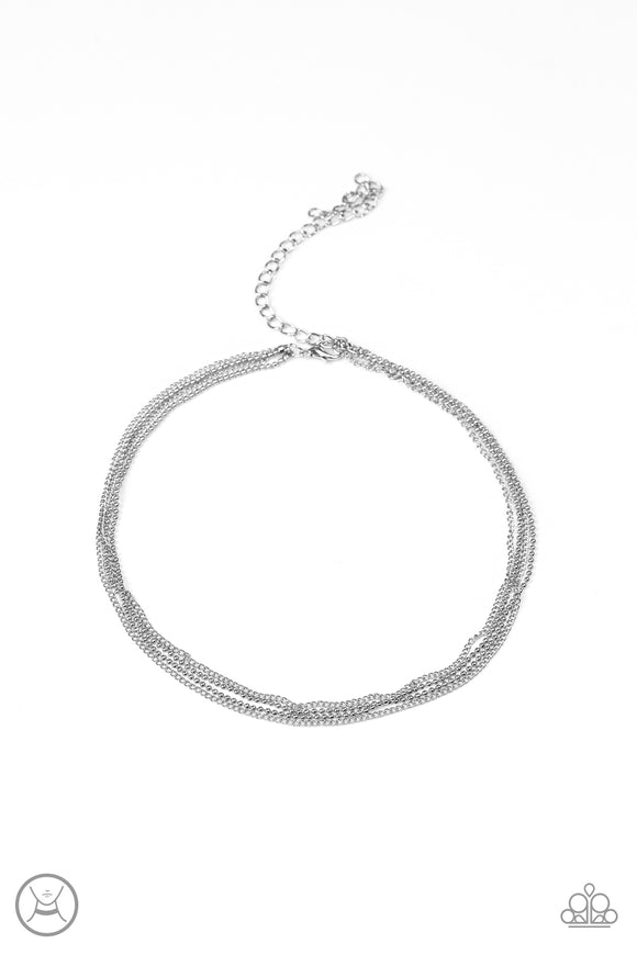 Paparazzi If You Dare Silver Choker necklace