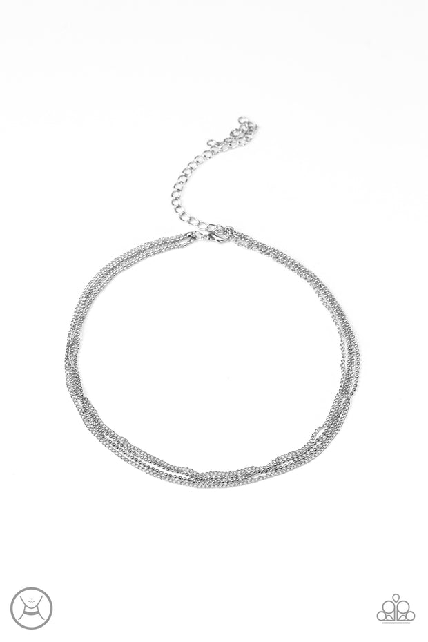 Paparazzi If You Dare Silver Choker necklace - Glitzygals5dollarbling Paparazzi Boutique