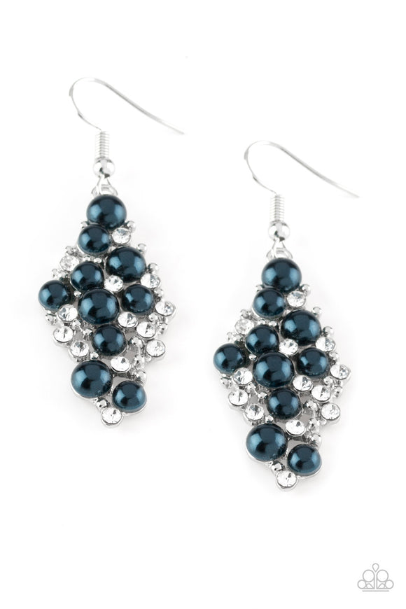 Paparazzi Famous Fashion Navy Blue Pearl and Rhinestone Earring