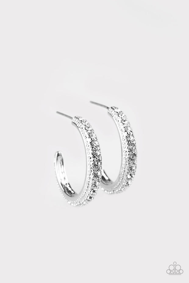 Twinkling Tinseltown White Hoop Earrings - Glitzygals5dollarbling Paparazzi Boutique