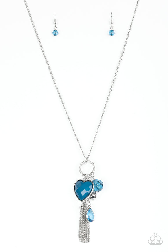 Paparazzi Haute Heartbreaker Blue Necklace