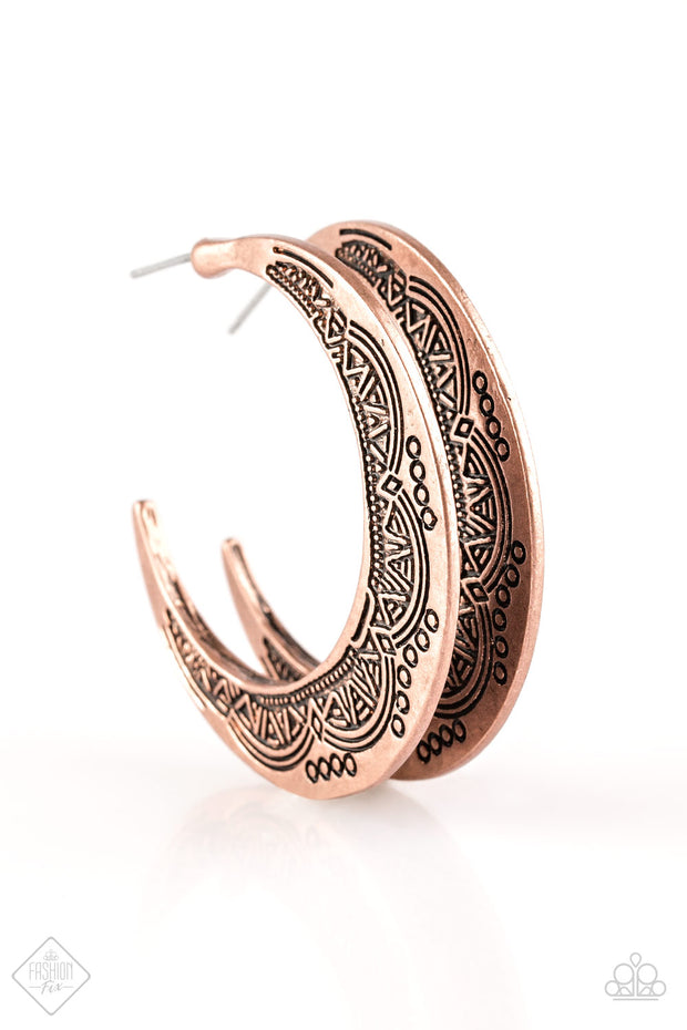 Sagebrush and Saddles Copper Hoop Earrings Fashion Fix Exclusive Paparazzi - Glitzygals5dollarbling Paparazzi Boutique