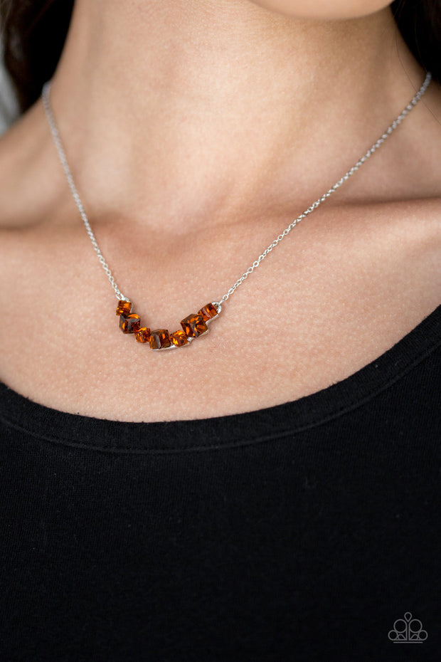 Loaded Dice - Brown Necklace - Glitzygals5dollarbling Paparazzi Boutique