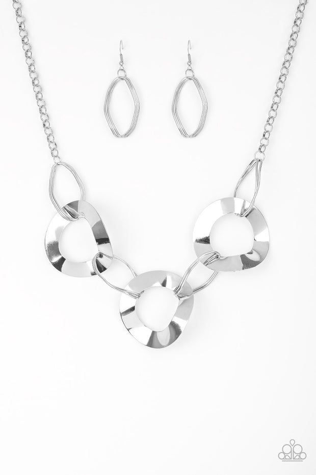 Modern Mechanics Silver Necklace - Glitzygals5dollarbling Paparazzi Boutique