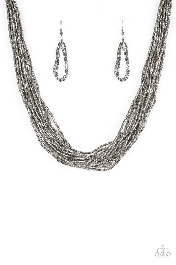 Speed of STARLIGHT Gunmetal Seed Bead Necklace Paparazzi - Glitzygals5dollarbling Paparazzi Boutique