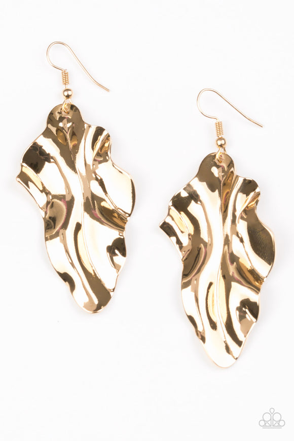 Paparazzi Fall Into Fall Gold Earrings