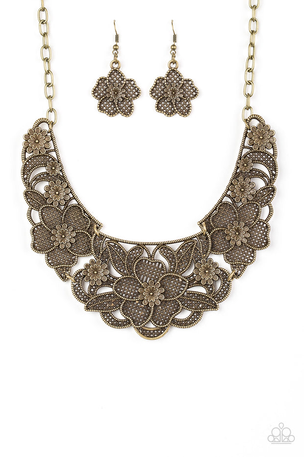Paparazzi Petunia Paradise Brass Necklace