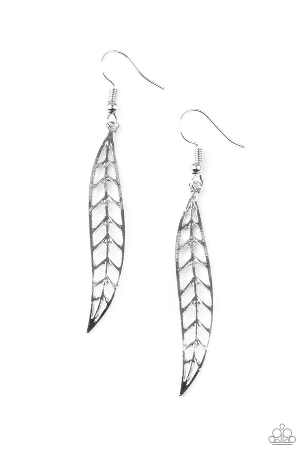 Paparazzi Feeling Feathery - Silver Earrings - Glitzygals5dollarbling Paparazzi Boutique