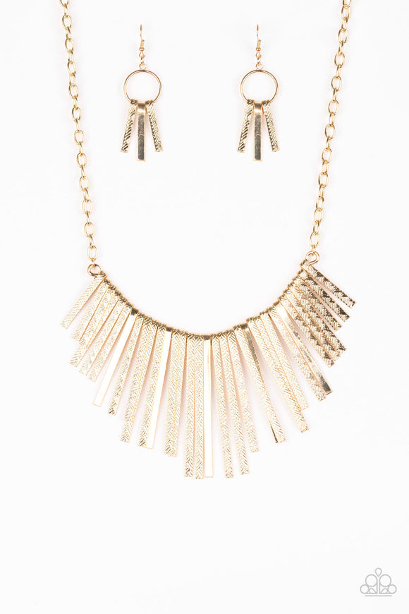 Paparazzi Welcome To The Pack Gold Necklace