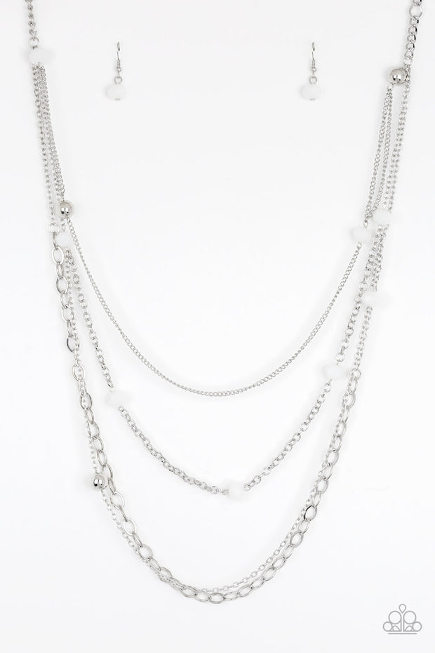 Glamour Grotto White Necklace - Glitzygals5dollarbling Paparazzi Boutique