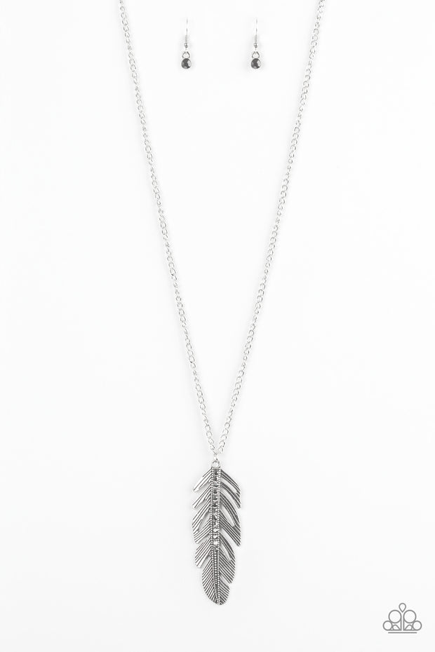 Paparazzi Sky Quest Silver Feather Necklace - Glitzygals5dollarbling Paparazzi Boutique
