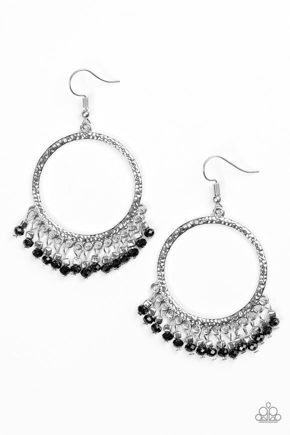 Paparazzi Tambourine Tango - Black Earrings