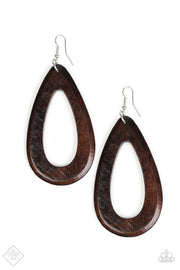 Paparazzi Malibu Mimosas Brown Wooden Exclusive Earrings