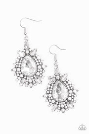 Paparazzi Diva Decor - White Earrings - Glitzygals5dollarbling Paparazzi Boutique