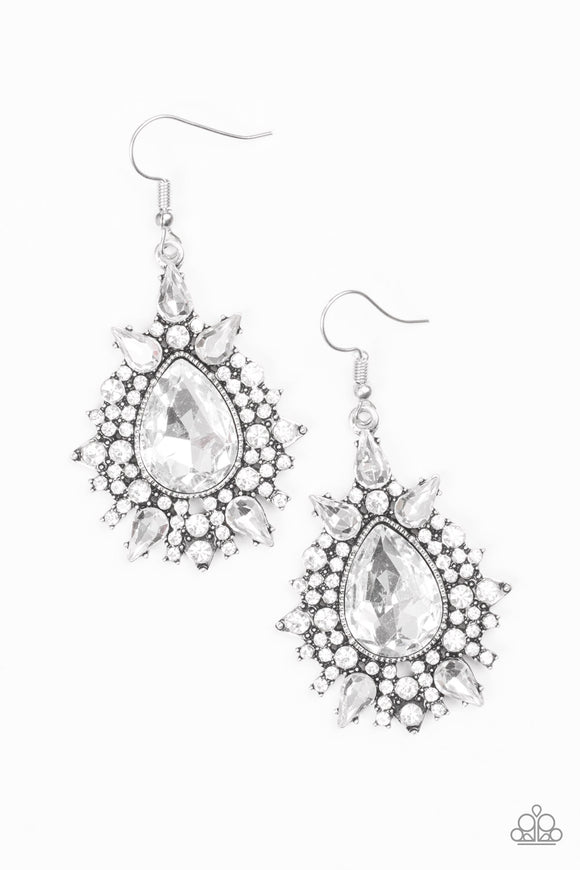 Paparazzi Diva Decor - White Earrings