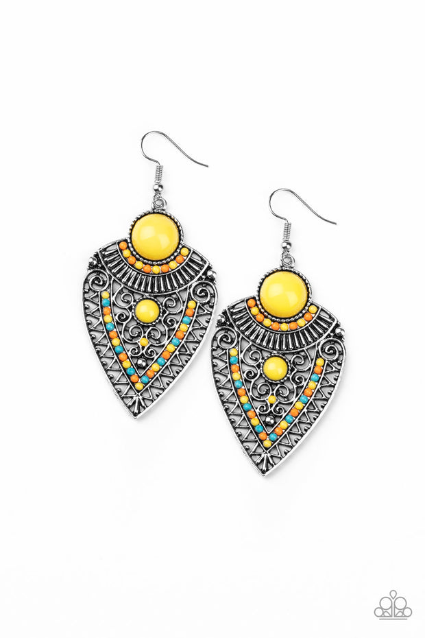 Paparazzi Tribal Territory Yellow Earrings - Glitzygals5dollarbling Paparazzi Boutique