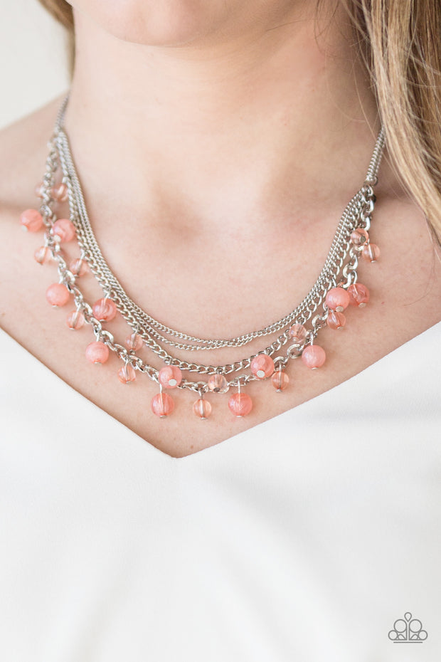 Paparazzi Ocean Odyssey - Orange Peach Necklace - Glitzygals5dollarbling Paparazzi Boutique
